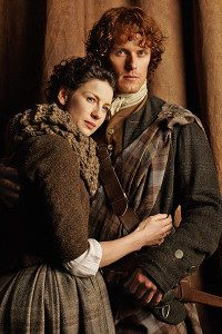 serial tv outlander 2014 wallpaper possibly containing a well dressed person called Claire and Jamie Fraser