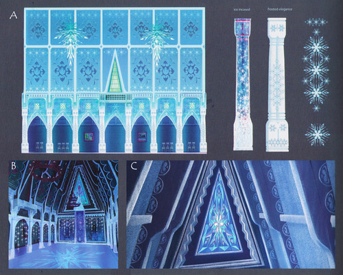 Frozen achtergrond possibly containing a bottled water called Concept art of Elsa's powers in the last act of Frozen