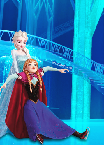 ফ্রোজেন দেওয়ালপত্র called Elsa and Anna