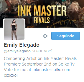 Emily Elegado from Ink Master Follows Me on Twitter!!!
