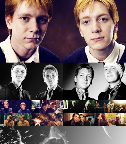 fred figglehorn e george weasley wallpaper possibly containing a business suit, a portrait, and animê titled fred figglehorn and George♥