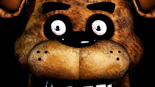 Five Nights at Freddy's karatasi la kupamba ukuta entitled Freddy Fazbear and his terrifying face