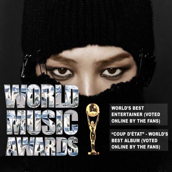 G-Dragon wins 'World's Best Entertainer' and 'World's Best Album' awards