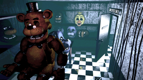 Five Nights at Freddy's 壁紙 probably with a sign, a street, and アニメ called Game over screen