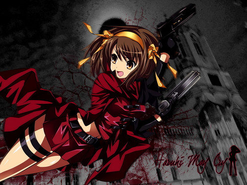The Melancholy of Haruhi Suzumiya wallpaper possibly containing anime entitled Haruhi Suzumia