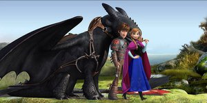 Hiccup, Anna , and Toothless
