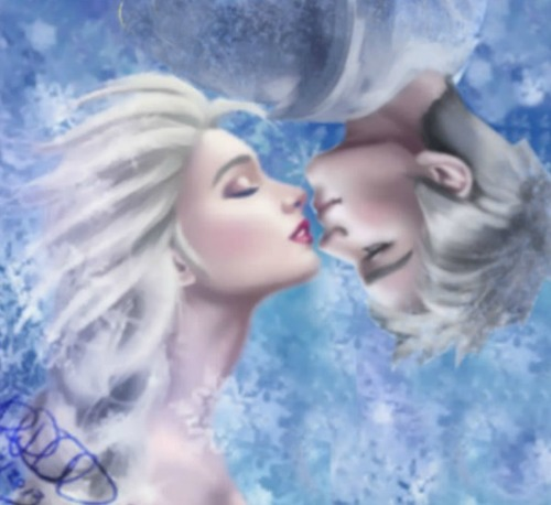 Elsa & Jack Frost karatasi la kupamba ukuta possibly containing a bottled water titled Jack Frost and Queen Elsa