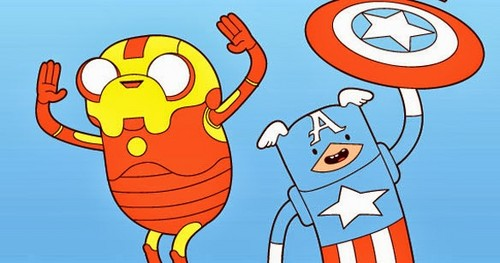 Adventure Time hình nền with anime called Jake and Finn Avengers