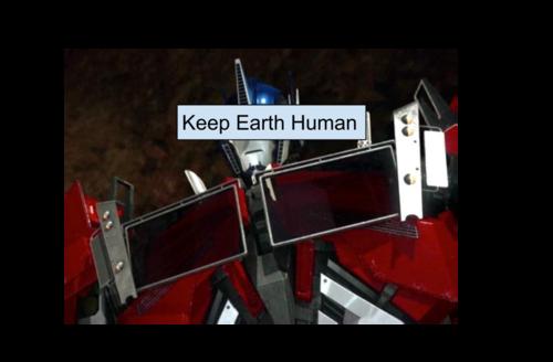 Transformers karatasi la kupamba ukuta titled Keep Earth Human