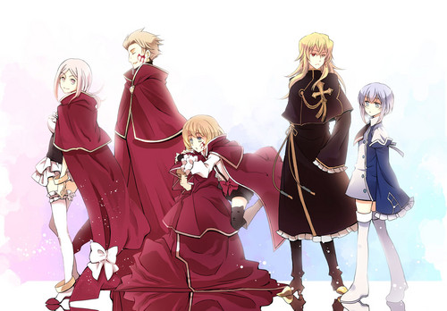 Pandora Hearts দেওয়ালপত্র probably with a lippizan entitled Lottie, Fang, Lily, Vincent and Echo