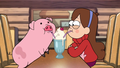 Mabel and Waddles drinking a shake - gravity-falls-mabel-pines photo