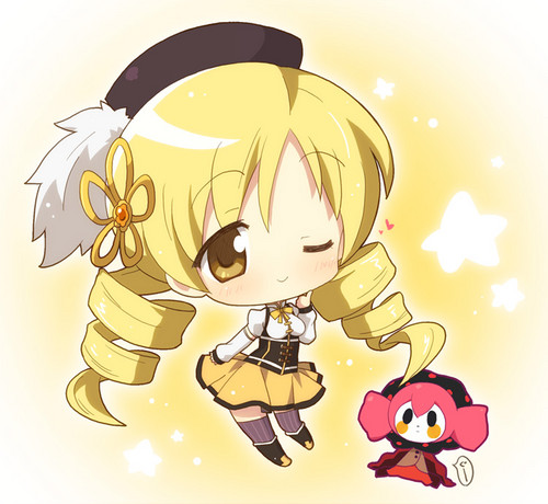 Puella Magi Madoka Magica karatasi la kupamba ukuta probably containing anime entitled Mami Tomoe Chibi