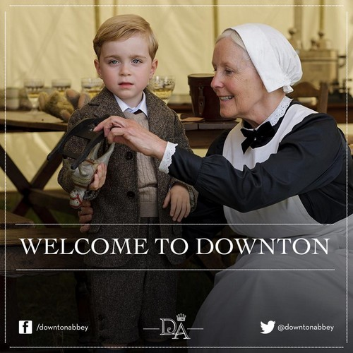 Downton Abbey wallpaper probably with a business suit called Master George Crawley