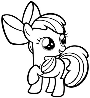 My Little gppony, pony Colouring Sheets - Applebloom