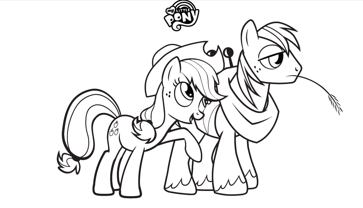 My Little poni, pony Colouring Sheets - aguardiente de manzana, applejack and Big Mac
