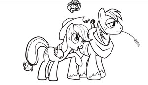 My Little টাট্টু Colouring Sheets - applejack and Big Mac
