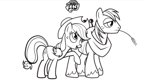 My Little kuda, kuda kecil Friendship is Magic kertas dinding titled My Little kuda, kuda kecil Colouring Sheets - applejack and Big Mac