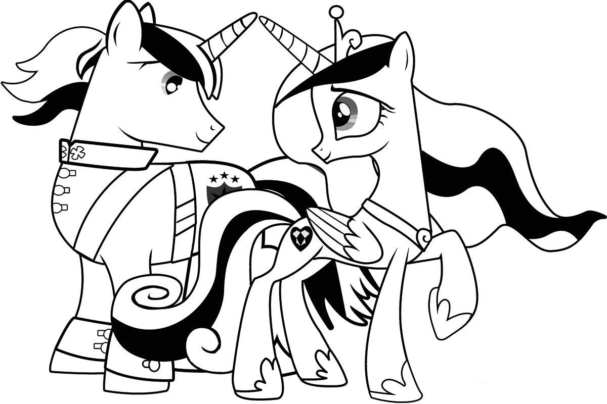 My Little 小马 Colouring Sheets - Cadance and Shining Armour