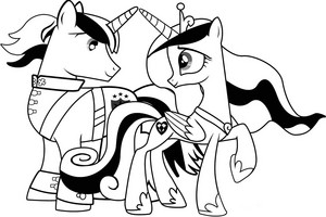 My Little kuda, kuda kecil Colouring Sheets - Cadance and Shining Armour