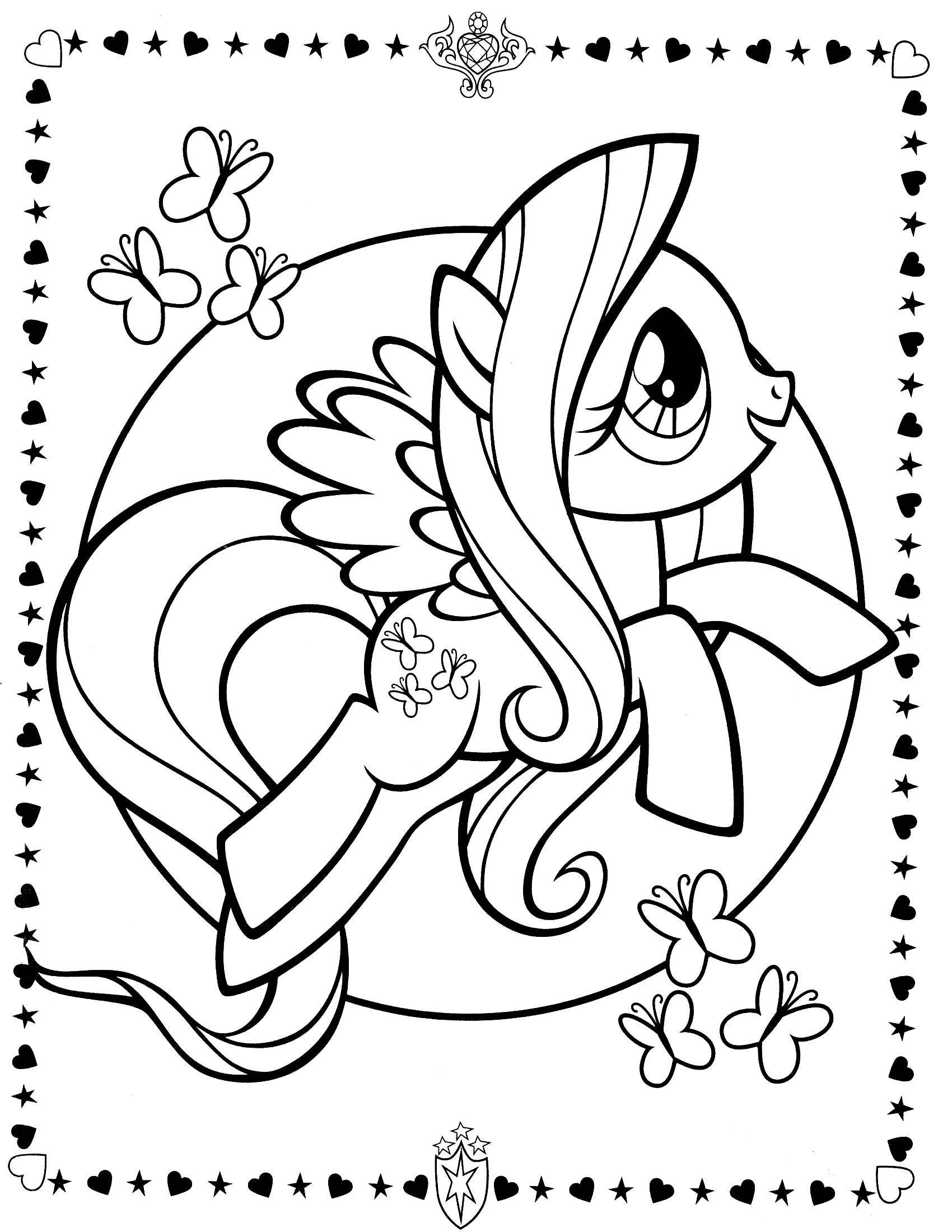 My Little Pony Colouring Sheets - Fluttershy - My Little ...