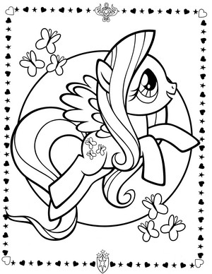 My Little kuda, kuda kecil Colouring Sheets - Fluttershy
