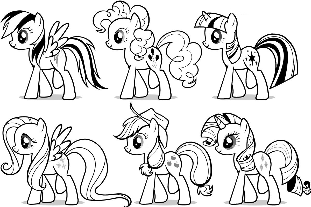 My Little 小马 Colouring Sheets - Mane Ponies