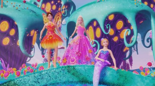 Barbie فلمیں پیپر وال called Nori the fairy, Princess Alexa, and Romy the mermaid