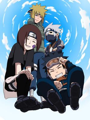 Obito Uchiha, Rin, Minato and Kakashi Hatake