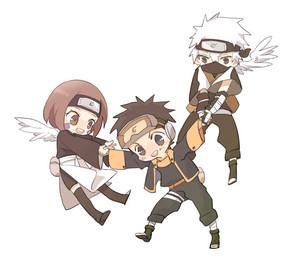 Obito Uchiha, Rin and Kakashi Hatake