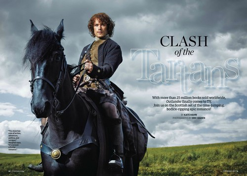 serial tv outlander 2014 wallpaper containing a horse trail, a horse wrangler, and a lippizan titled Outlander - TV Guide
