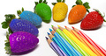 Rainbow fruit and pencils