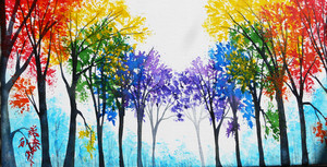 pelangi, rainbow trees