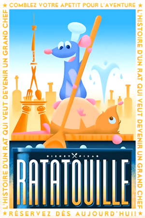 Ratatouille posters inspired sejak 1920's French style illustrations