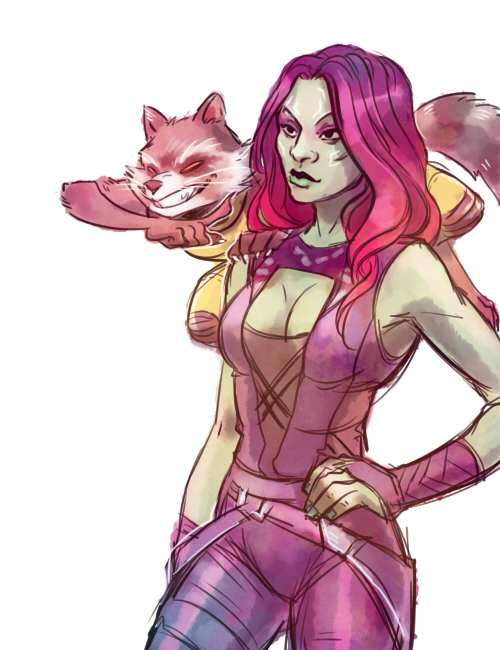 Rocket and Gamora