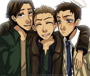 Sam, Cas, and Dean