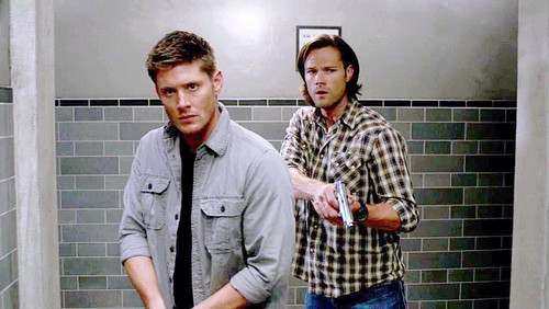 The Winchesters वॉलपेपर probably with a shower, a business suit, and a शावर, शॉवर stall titled Sam and Dean Winchester