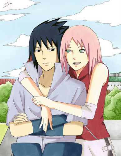 Sasuke Ichiwa fond d'écran containing animé called Sasuke Uchiha and Sakura Haruno