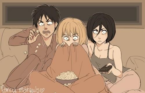 Shingeki no Kyojin (Attack on Titan) Hintergrund with Anime titled Scary Movie