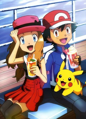 Serena, Ash, and Pikachu