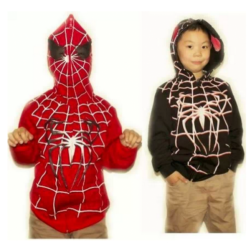 Spider-Man wallpaper probably containing a nightwear, a sweat suit, and a playsuit, macacão titled Spider-man cosplay hoodie child version.