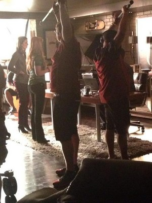 Stana and Molly-BTS(August,2014)