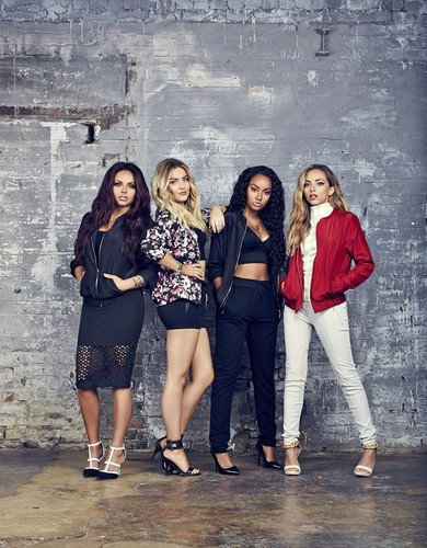 Little Mix fond d'écran possibly containing a hip boot, hot pants, pantalon chaud, and a rue called The girls for Tati photoshoot