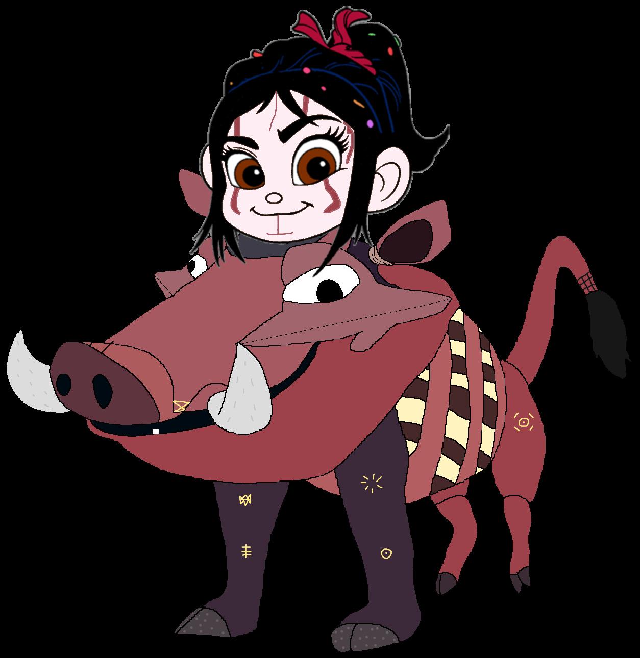 Vanellope dressed as Pumbaa 1