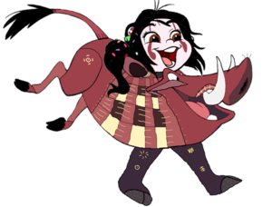 Vanellope dressed as Pumbaa 2