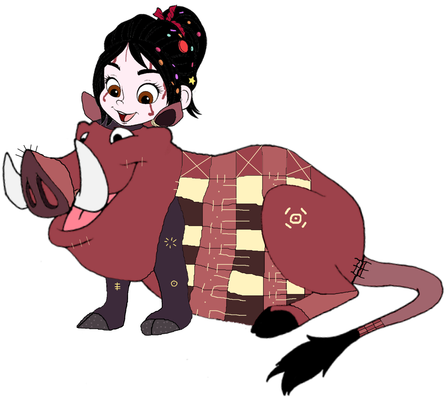 Vanellope dressed as Pumbaa 3