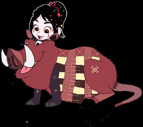 Vanellope von Schweetz wolpeyper possibly containing anime called Vanellope dressed as Pumbaa 3