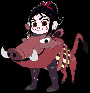 Vanellope dressed as Pumbaa