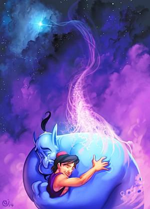 Walt Disney fan Art - Genie & Prince Aladdin