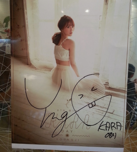KARA 바탕화면 possibly containing a bridesmaid and a dress called Youngji's autograph