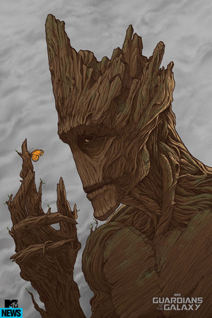 groot looking at a бабочка